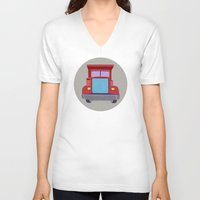 truck V-neck T-shirts featuring red truck by elvia montemayor