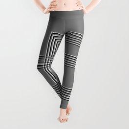 Parallel black white lines No. 01 Leggings