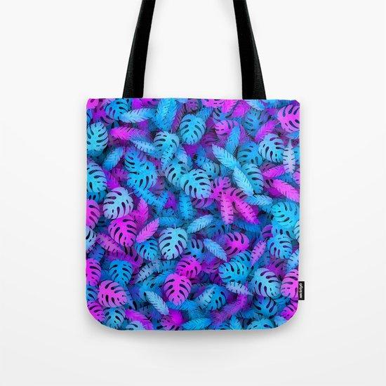 Blue pink tropical leaves Tote Bag