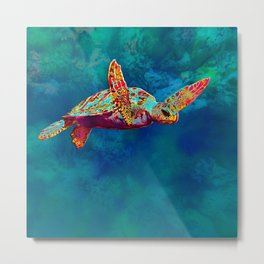 Flight of the Turtle Metal Print