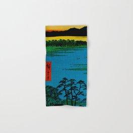 Hiroshige, Sunset Contemplative Landscape Hand & Bath Towel