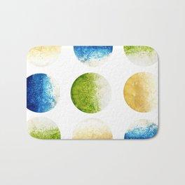 Abstract acrylic circles | Coloured moon pattern Bath Mat