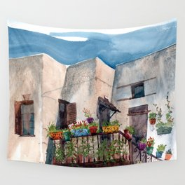 Herbs and blossom on Rhodian balcony Wall Tapestry