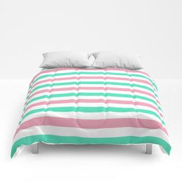 Menthol green, gray and white horizontal stripes Comforters