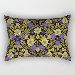 Flower Pattern - Purple, Green & Pale Yellow Rectangular Pillow