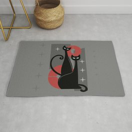 Modern Meows Atomic Age Black Kitschy Cats Rug