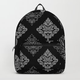 Scroll Damask Art I Wt Line Gray Blk Backpack