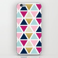 Triangle Geometry, Gold, Navy blue and Pink iPhone & iPod Skin