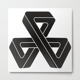 mobius triple strip - black Metal Print