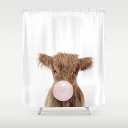 Bubble Gum Highland Cow Baby Shower Curtain