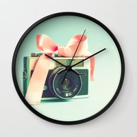 forever young Wall Clocks featuring Forever young  by Caroline Mint