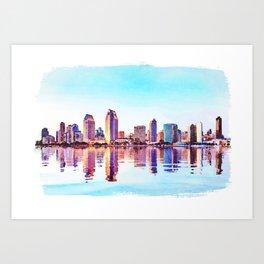Watercolor of San Diego Skyline at dusk Art Print