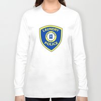 police Long Sleeve T-shirts featuring Laundry Police by Julie Luke