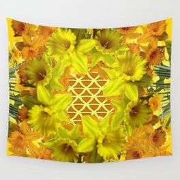 GOLDEN YELLOW SPRING DAFFODILS PATTERN GARDEN Wall Tapestry