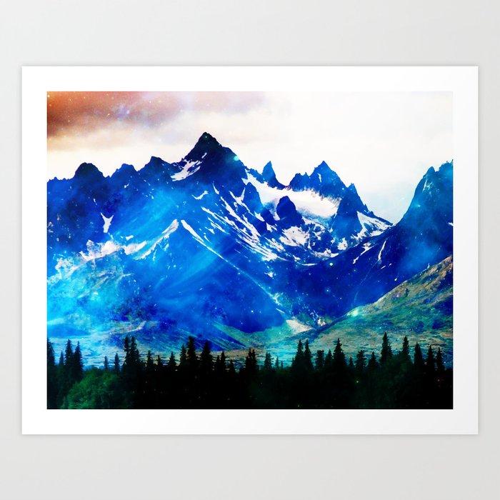 Galaxy Mountain V2 #society6 #decor #buyart Art Print