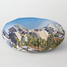 Seattle Overlook with Mt Rainier Floor Pillow