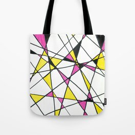 Geometric Neon Triangles - Pink, Yellow & Black Tote Bag