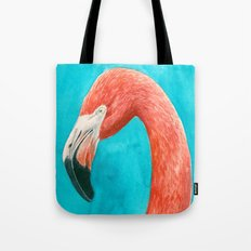 Flamingo watercolor portrait Tote Bag