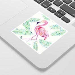 Dreamy Watercolor Flamingo and Ferns Sticker