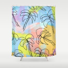 Live This Moment no.1 - illustration palm tree pattern summer tropical beach California pastel color Shower Curtain