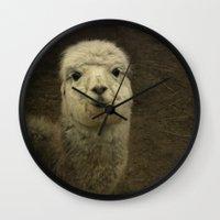 alpaca Wall Clocks featuring Alpaca  by Guna Andersone & Mario Raats - G&M Studi