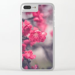 Pink Peach Blossoms Clear iPhone Case