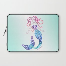 Tribal Mermaid with Ombre Turquoise Background Laptop Sleeve