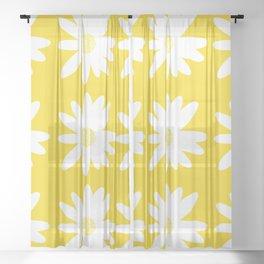White Daisy Flowers Yellow Background Summer Mood #decor #society6 #buyart Sheer Curtain