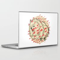 pomeranian Laptop & iPad Skins featuring Pomeranian in Autumn by Jack Haughey