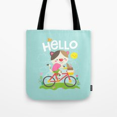 Cat on a bike Tote Bag