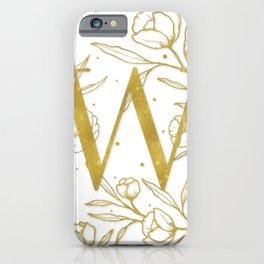 Letter W Gold Monogram / Initial Botanical Illustration iPhone Case