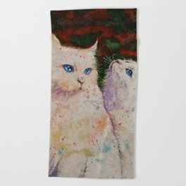 White Cats Beach Towel
