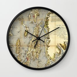 1777 Topographical Map of Rhode Island, Narragansett Bay of Province of New England Wall Clock