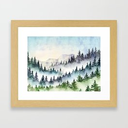 Misty Mountain Pines - Foggy Forest Watercolor Painting Framed Art Print