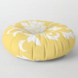Oriental Flower - Mustard Yellow Floor Pillow