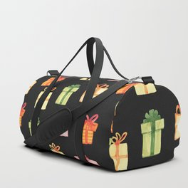 Black Hand Drawn Watercolor Gift Package Pattern Duffle Bag