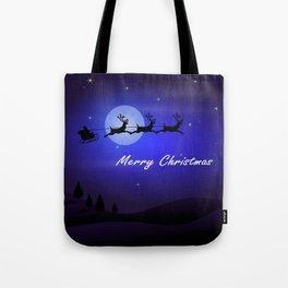Reindeer pulling Santa's Sleigh Tote Bag