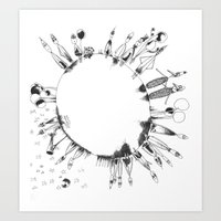 globe Art Prints featuring globe  by Naja