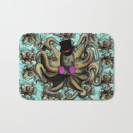 Steampunk Octopus with Patterned Back ground  Bath Mat