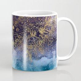 Gold floral mandala and confetti image Coffee Mug