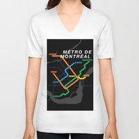montreal V-neck T-shirts featuring Montreal Metro by Coconuts & Shrimps