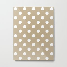 Polka Dots - White on Khaki Brown Metal Print