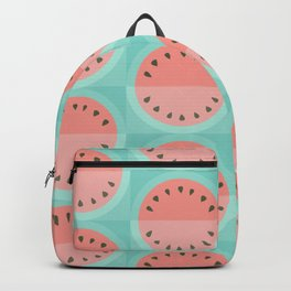 Geometric Watermelon: pink on turquoise Backpack