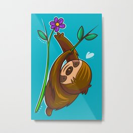 Sloth And Flower Metal Print
