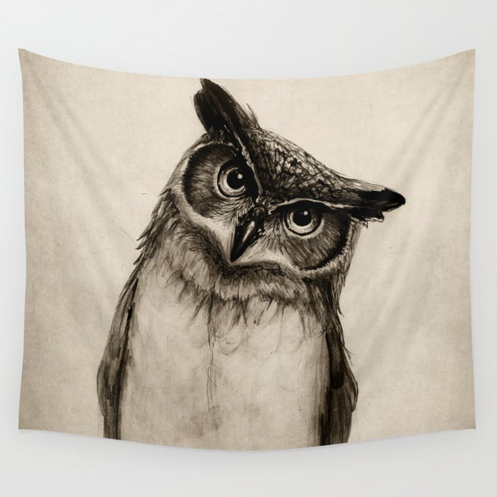 Owl Sketch Wall Tapestry