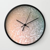 bisexual Wall Clocks featuring Rose quartz glitter  by Better HOME