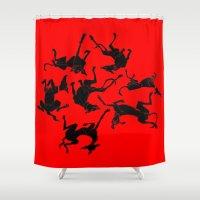 greyhound Shower Curtains featuring greyhound yoga by Matt Mawson