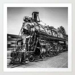 Wichita Kansas Train Station Locomotive in Black and White Art Print