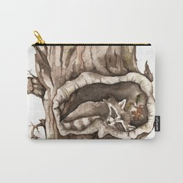 Sleeping Raccoon in Tree Hollow Carry-All Pouch