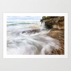 Elliot Falls on Miners Beach - Pictured Rocks, Michigan Art Print